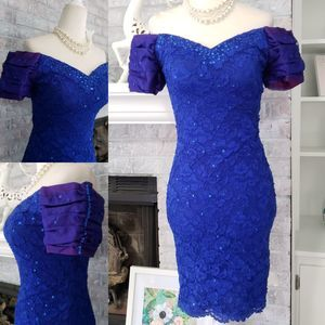 Vintage 80s Blue Lace off shoulder bodycon dress S
